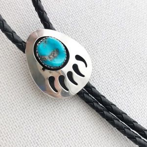 VINTAGE Turquoise & Sterling Bear Print Bolo Tie